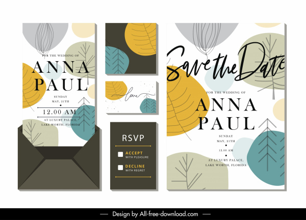 wedding card template colorful classic handdrawn leaves decor