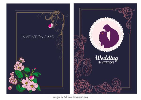 wedding card template dark colored elegant botanical decor