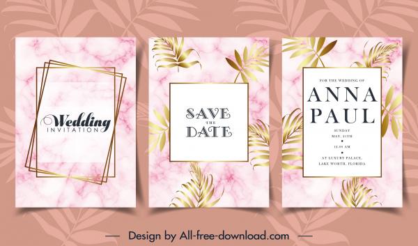 wedding card template elegant bright flowers leaves decor