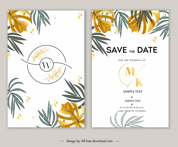 wedding card template elegant classic leaves decor bright design