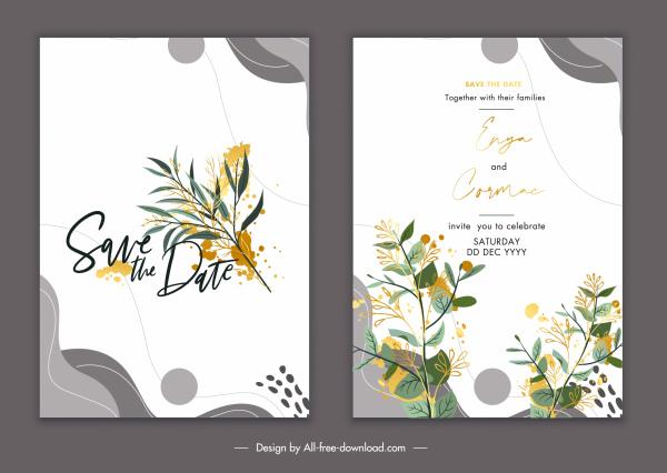 wedding card template elegant classical botany decor