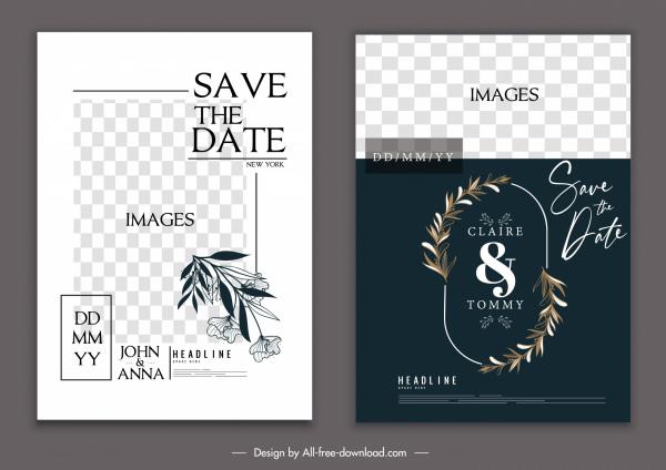 wedding card template elegant classical checkered wreath decor