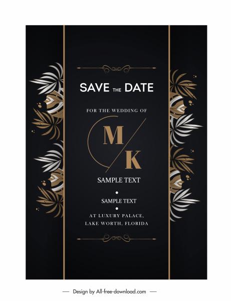 wedding card template elegant dark leaves decor
