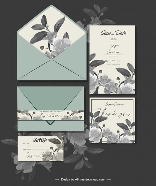 wedding card template elegant flora decor dark classic