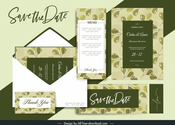 wedding card template elegant retro green leaves decor