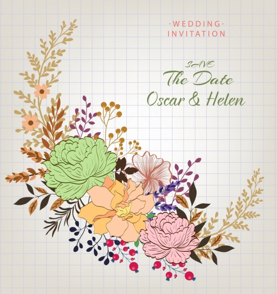 wedding card template flowers decoration classical design