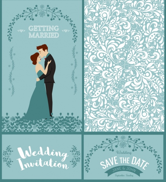 wedding card template groom bride icons classical design