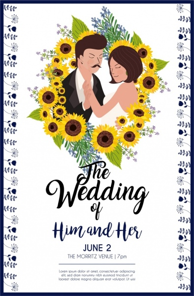 wedding card template groom bride sunflowers icons decor