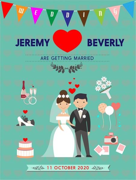 wedding card template illustration in color vintage style