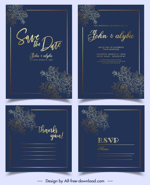 wedding card template luxury elegant flowers dark golden