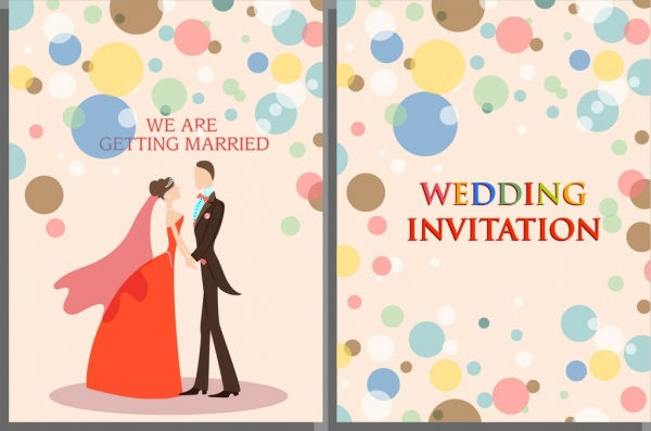 wedding card template marriage couple colorful round decor