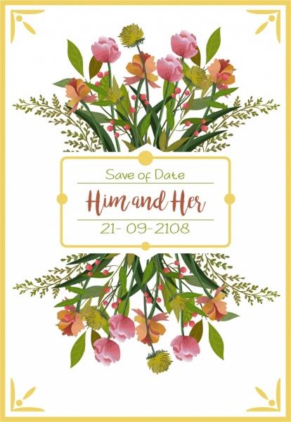 wedding card template multicolored flowers decor reflection design