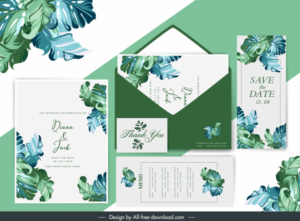 wedding card template natural leaves decor classic design