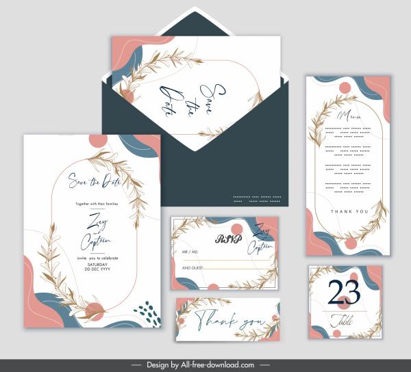 wedding card templates classic bright colorful plants decor