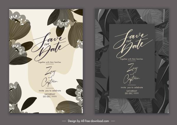 wedding card templates classic dark botany leaves decor