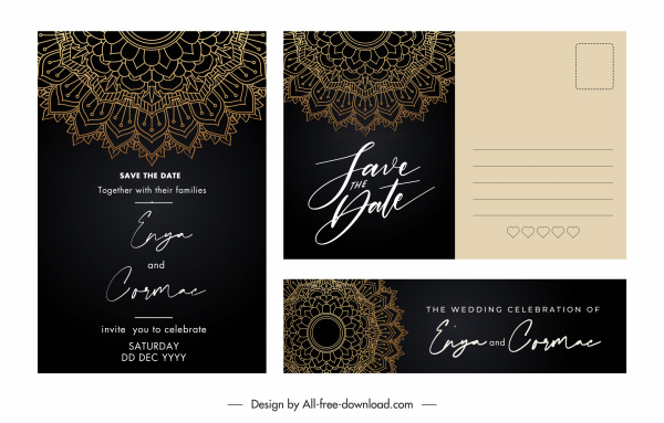 wedding card templates classical elegant dark decor