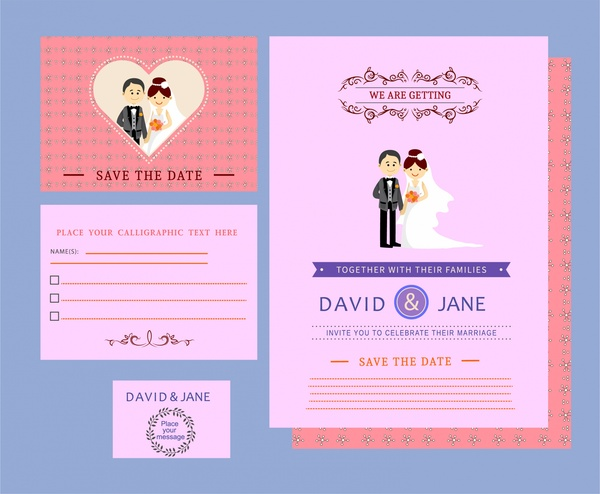 Wedding card templates couple design on colored background free wedding card templates couple design on colored background free vector 800mb stopboris Images
