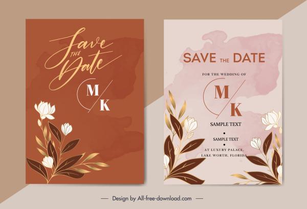 wedding card templates elegant botanical decor classic design