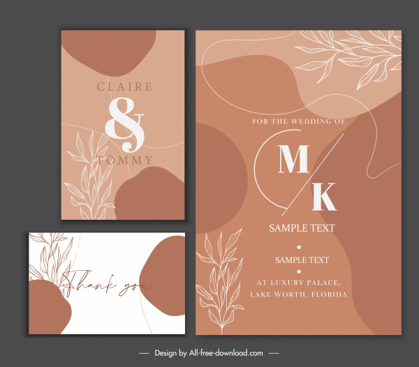 wedding card templates elegant classic handdrawn leaves decor