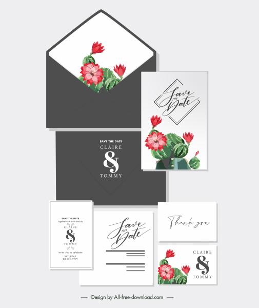 wedding card templates elegant classical cactus botany decor