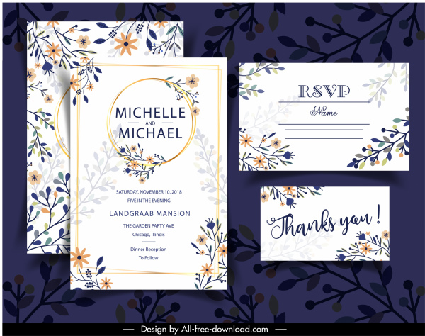 wedding card templates elegant classical colorful flat floral