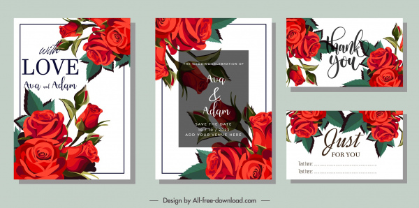 wedding card templates elegant classical red roses decor