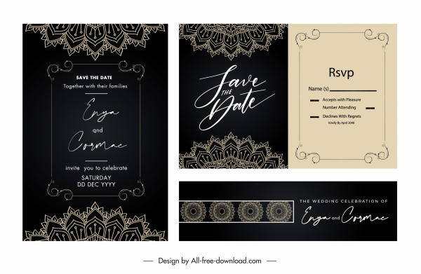 wedding card templates elegant dark classical lace elements