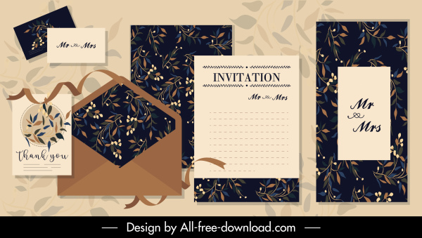 wedding card templates elegant dark plant decor