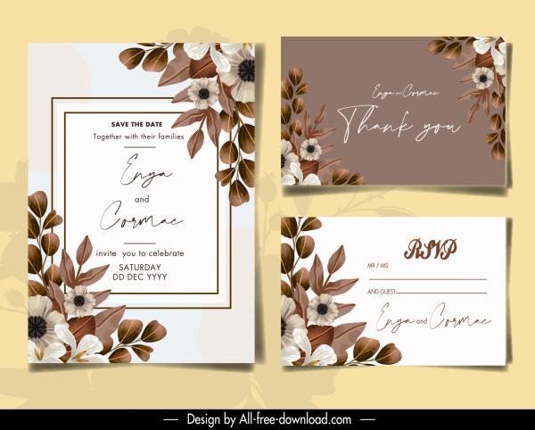 wedding card templates elegant floral leaves decor