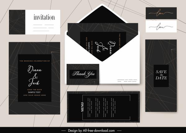 wedding card templates elegant plain dark bright decor