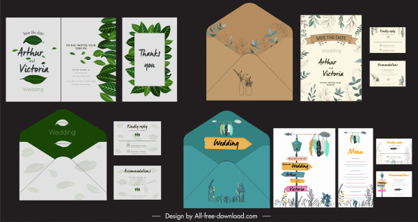 wedding card templates nature themes flowers leaves decor