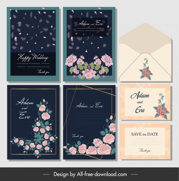 wedding cards envelope templates elegant floral decor