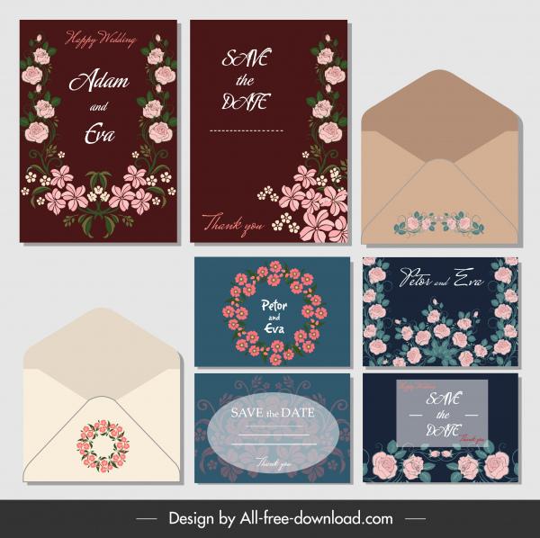 wedding cards envelopes templates classical formal botany decor