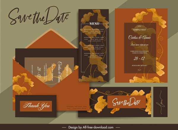 wedding cards templates classic blurred floral decor