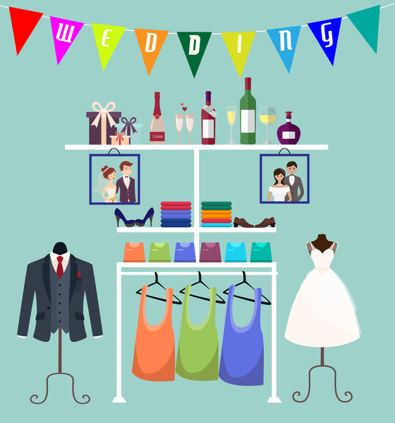 wedding clothing boutique vector illustration in flat style