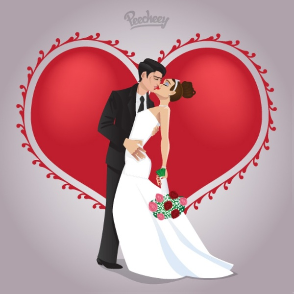 Wedding Couple In Love Free Vector In Adobe Illustrator Ai Ai Vector Illustration Graphic Art Design Format Format For Free Download 684 82kb