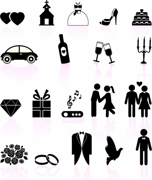 Wedding day black and white set icons Free vector in Adobe ...