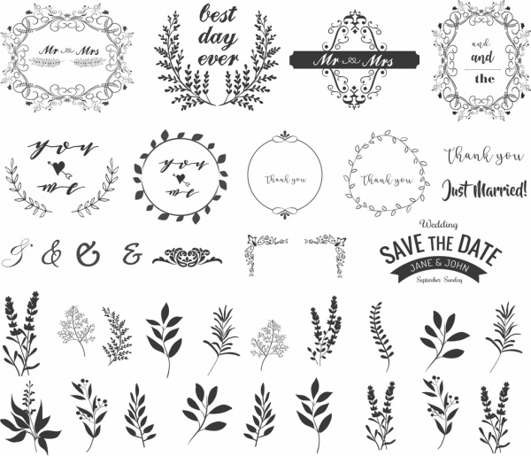 Wedding frame design elements classical curved leaves icons Free ...
