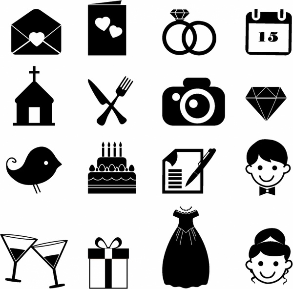 Wedding Icons Free Vector In Adobe Illustrator Ai