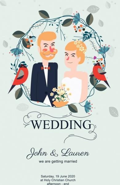 wedding invitation banner groom bride icon classical decor