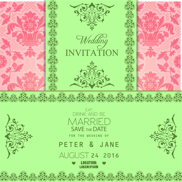 Wedding invitation card free vector in adobe illustrator ai wedding invitation card stopboris Image collections