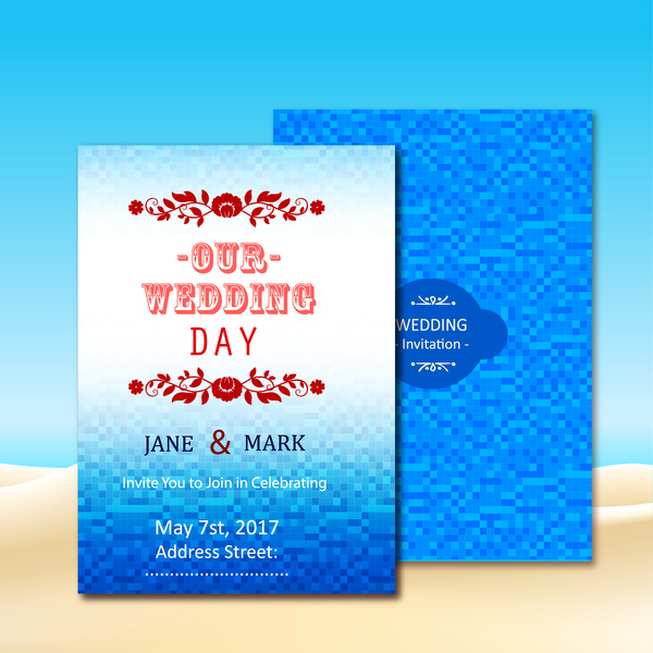 wedding invitation card design with blue bokeh background free