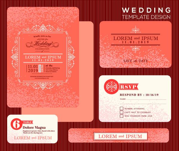 Wedding Invitation Card Design With Orange Bokeh Background Free