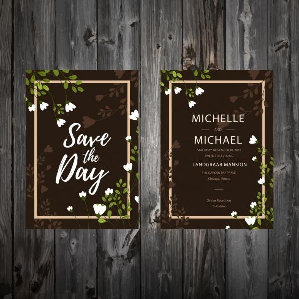 wedding invitation card template classical dark flowers decor