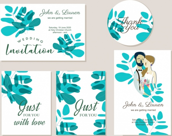 Wedding invitation card template green leaf couple icons Free vector