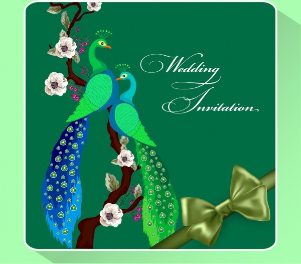 wedding invitation card template green peafowl ribbon ornament