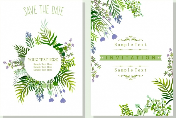 wedding invitation card template nature theme green leaves