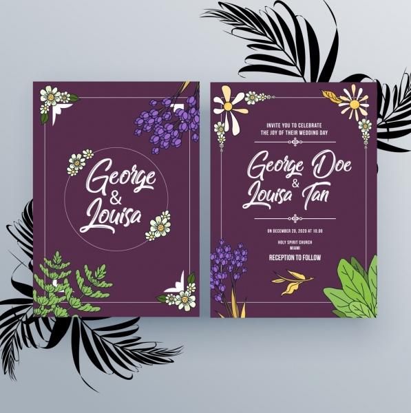wedding invitation card template violet design natural decoration