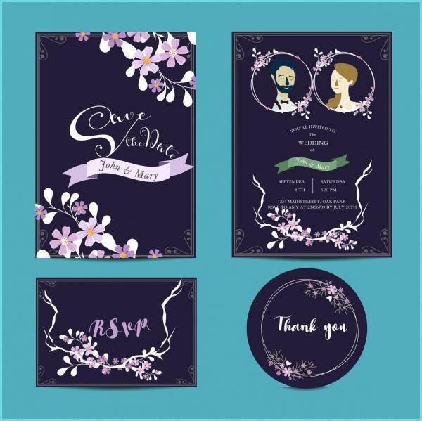 wedding invitation card templates dark classical decor