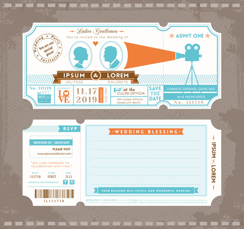 Wedding Invitation Ticket Template Vector Free In Adobe